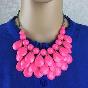 Bright pink necklace, costume jewelry